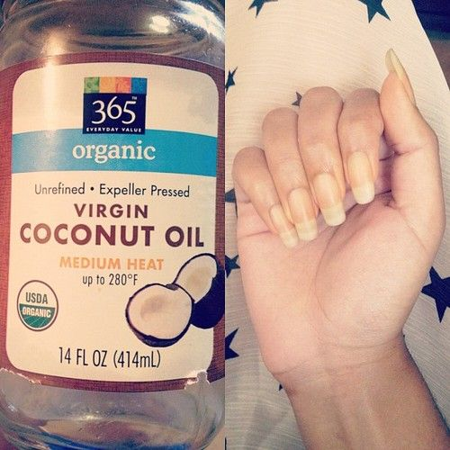 Massage your hands and nails with unrefined coconut oil once a day for an entire...