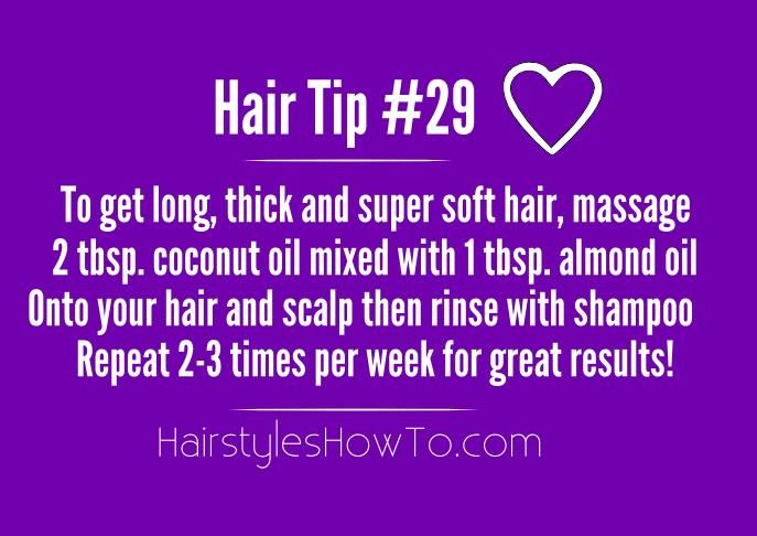 Simple trick to get super soft and thick hair is by massaging coconut oil onto y...