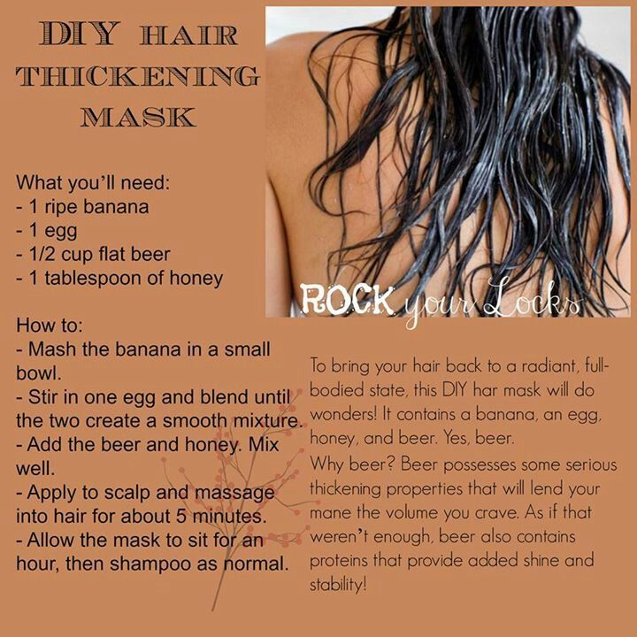 Thickening hair mask. Maybe instead of beer use coconut oil or something