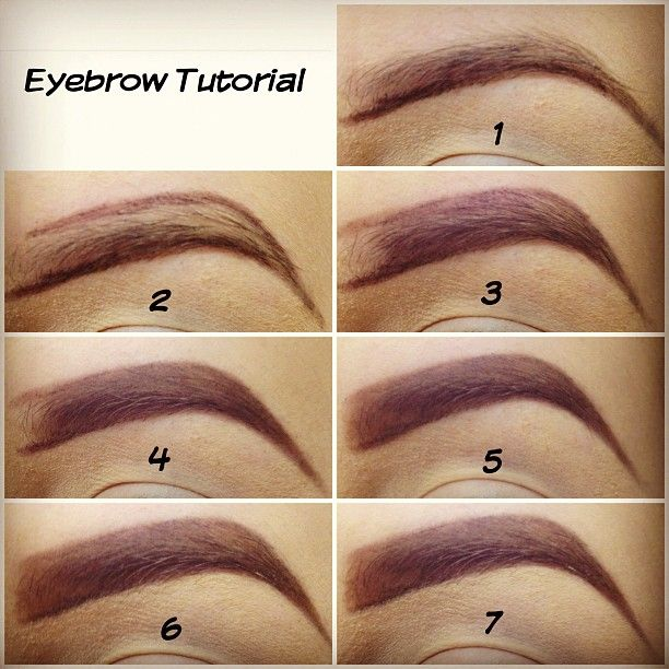 1) Outline the bottom with eyebrow pencil. 2) Outline the top. 3) Fill in leavin...