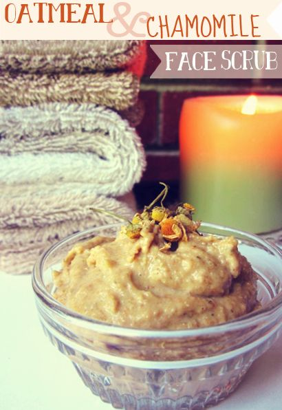 DIY: Sweet Oatmeal & Chamomile Face Scrub- cleans out pores, diminishes breakout...