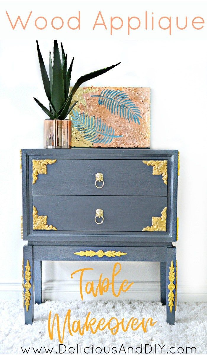Create this gorgeous Table Makeover using Wood Appliqués  DIY Painted Furniture...