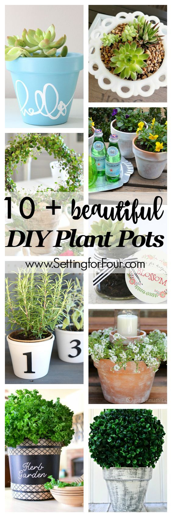 10 plus beautiful DIY Plant Pots - Home and Garden ideas! Save money by making y...