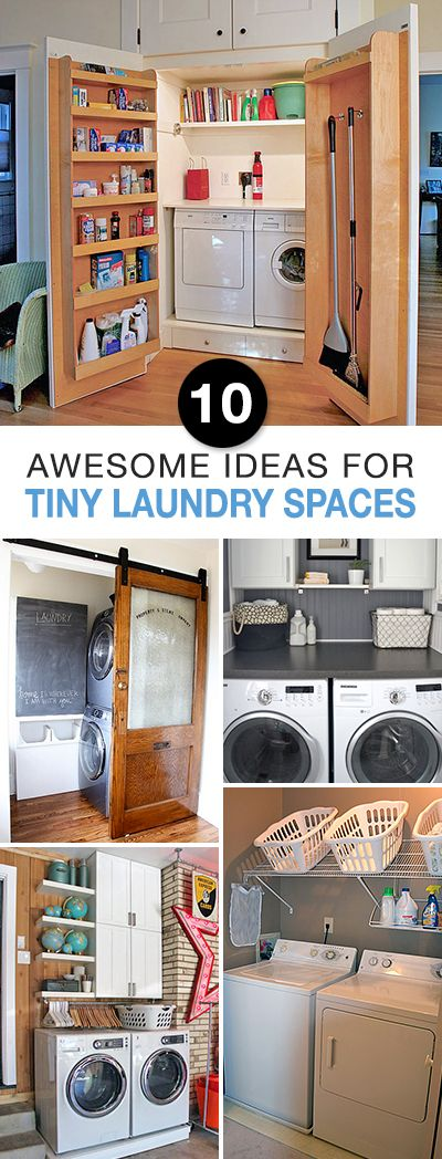 10 Awesome Ideas for Tiny Laundry Spaces • Lots of Ideas and Tutorials to orga...