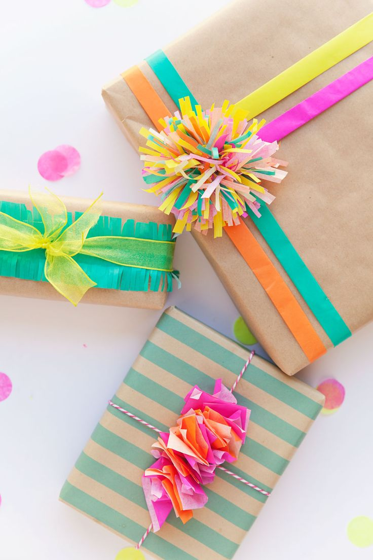 3 cute ways to wrap a gift with tissue paper.