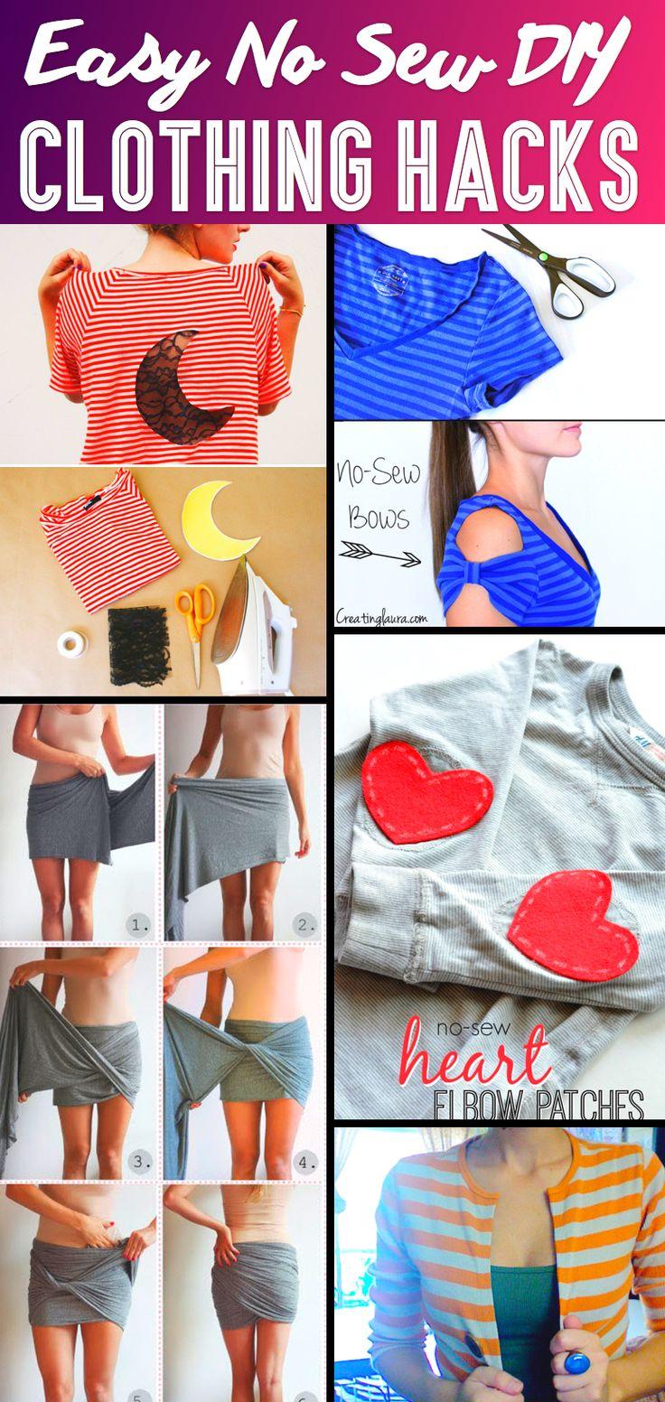 Diy Crafts 37 Truly Easy No Sew Clothing Hacks Love