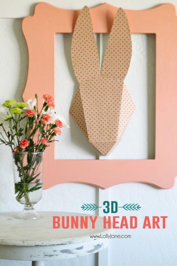 3D Bunny Head Paper Art. Cute! @Lolly Jane {lollyjane.com}