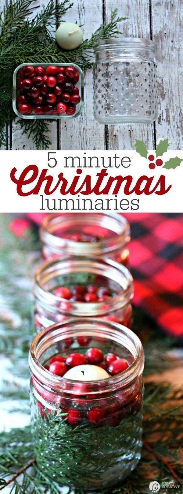 5 minute Christmas luminaries make fun seasonal home decor! Perfect centerpiece ...