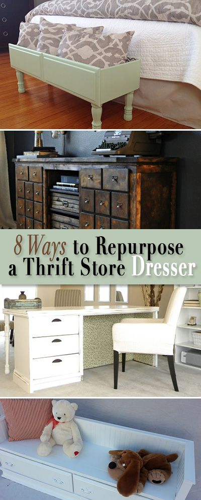 8 Ways to Repurpose a Thrift Store Dresser • All these DIY projects were once ...