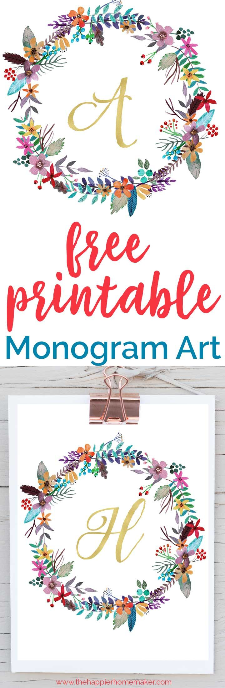 graphic relating to Free Monogram Printable identified as Do-it-yourself Crafts : Attractive free of charge printable monogram artwork for your