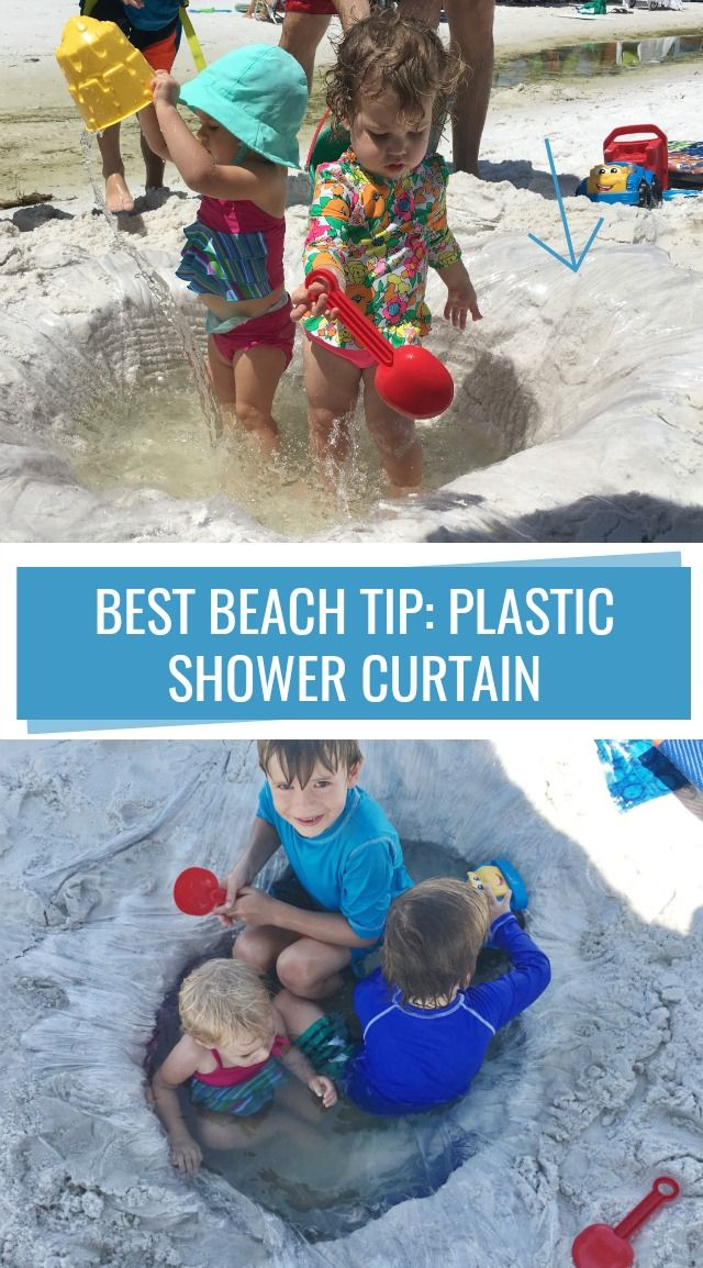 Best beach tip for babies and toddlers--use a plastic shower curtain in the sand...