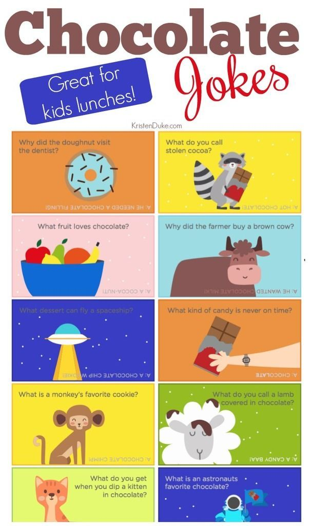 Chocolate Jokes. These lunch box jokes are fun for kids to share a conversation ...
