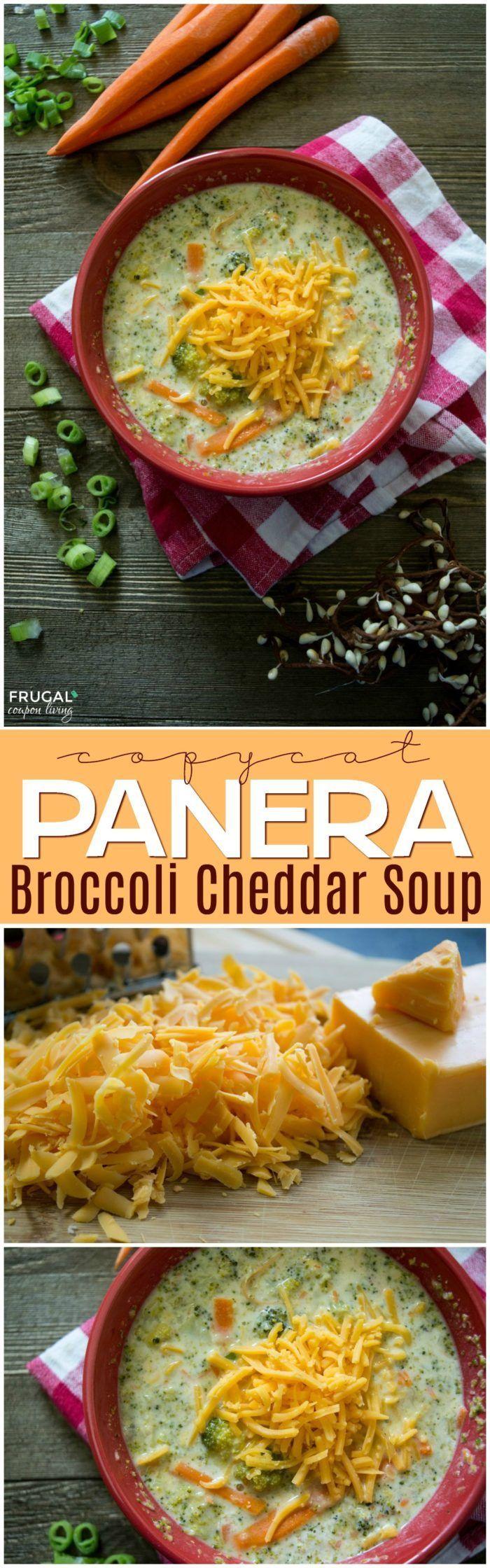 Copycat Panera Broccoli Cheddar Soup on Frugal Coupon Living. Comfort food recip...