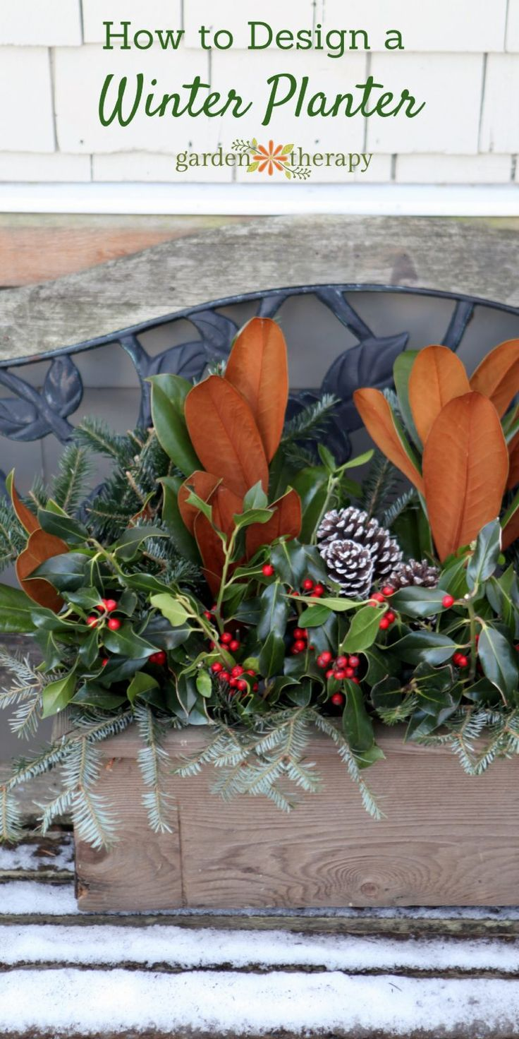 Create a festive holiday window box with a wood planter and some fresh greenery....