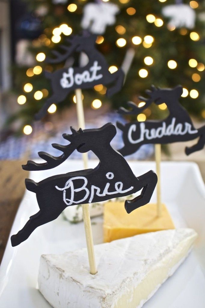 DIY Cheese Marker Tags – Holiday Cocktail Party Ideas. Chalkboard cheese marke...