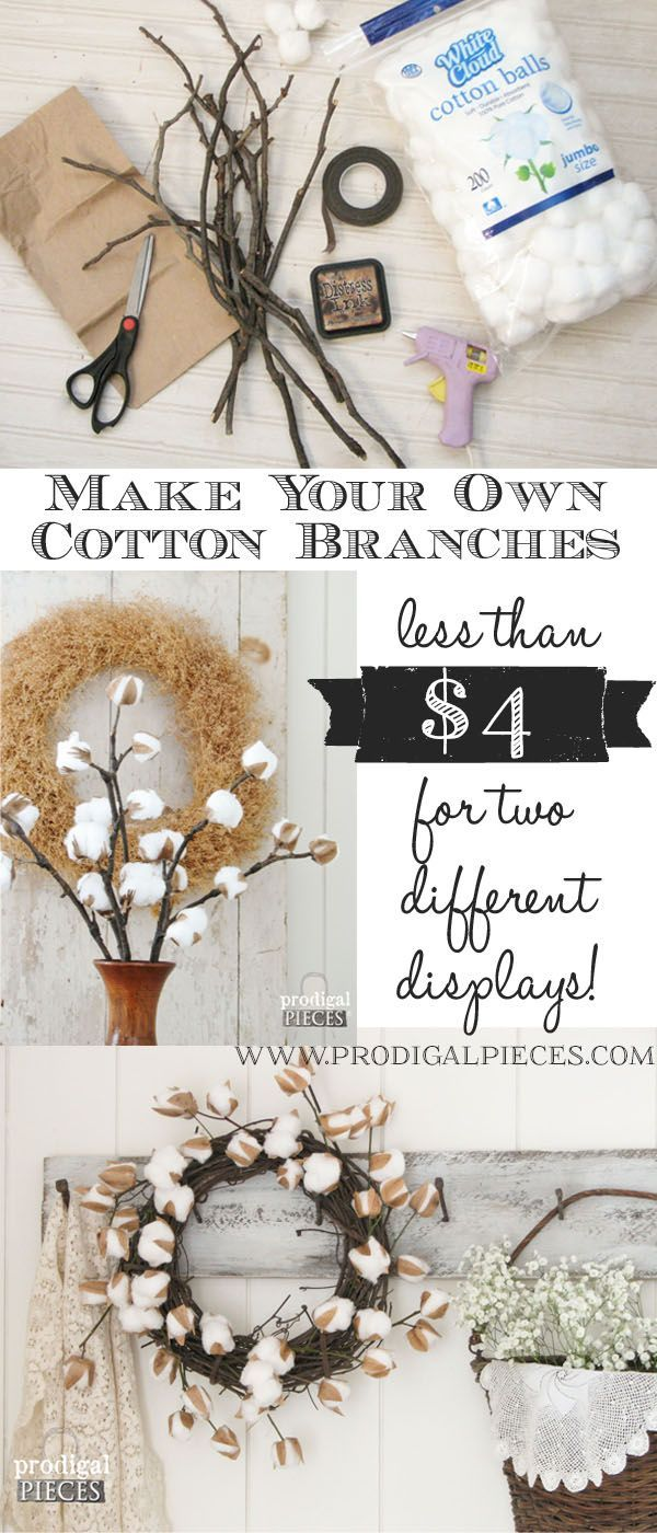 DIY Farmhouse Cotton Branches - A Video Tutorial by Prodigal Pieces www.prodigal...