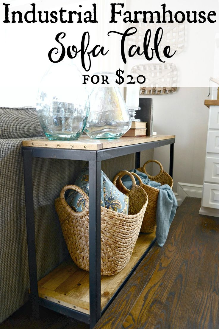 DIY Farmhouse Industrial sofa table. Turn a metal shelf into rustic shelving for...