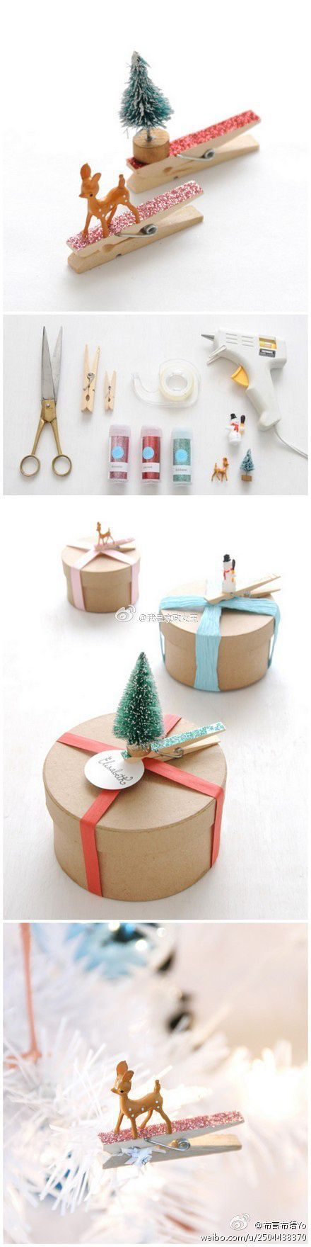 DIY Glittered Clothespin and Miniature Ornaments Gift Toppers - The BEST DIY Gif...