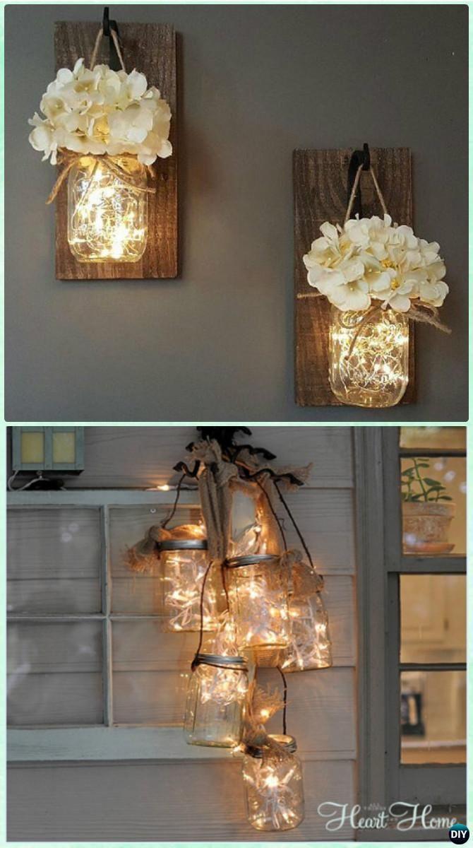 DIY Hanging Mason Jar String Lights Instruction - DIY Christmas Mason Jar Lighti...
