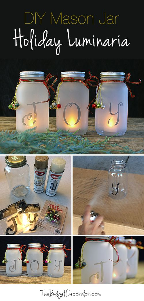 DIY Mason Jar Holiday Luminaria! • Full tutorial showing you how to make these...