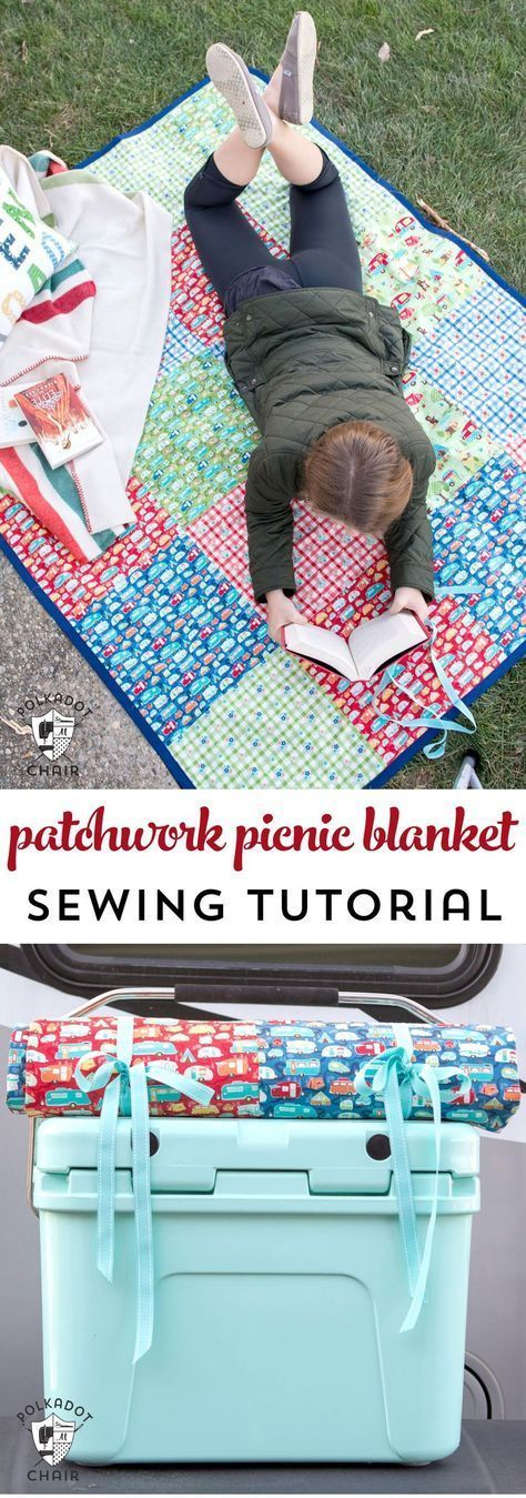 DIY Patchwork Waterproof Picnic Blanket Pattern, an easy to sew tutorial for a p...