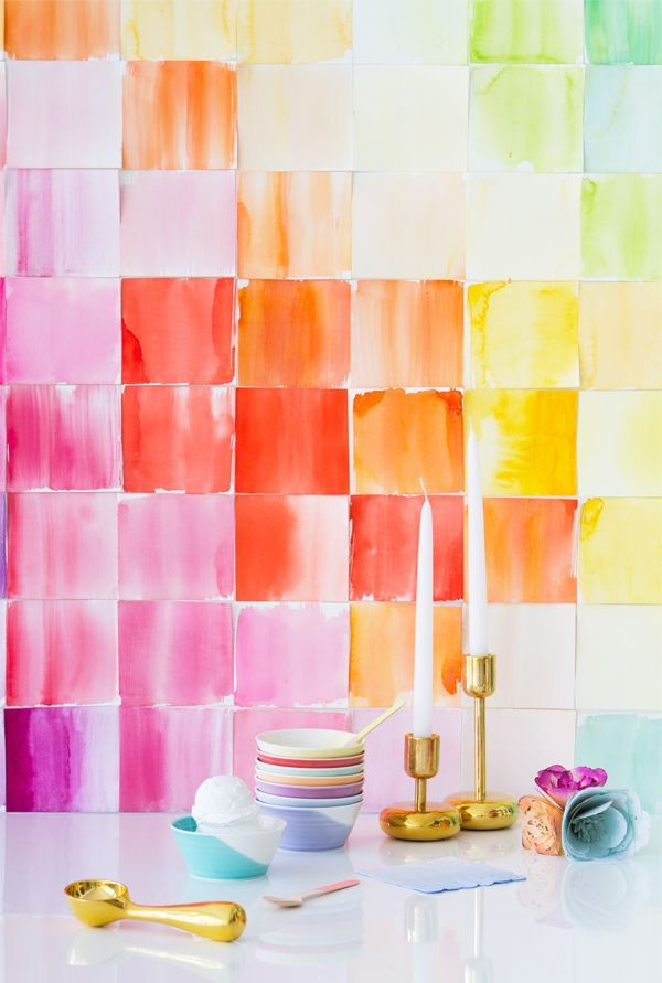 DIY Watercolor Paper Squares Backdrop | Party ideas and DIY ideas
