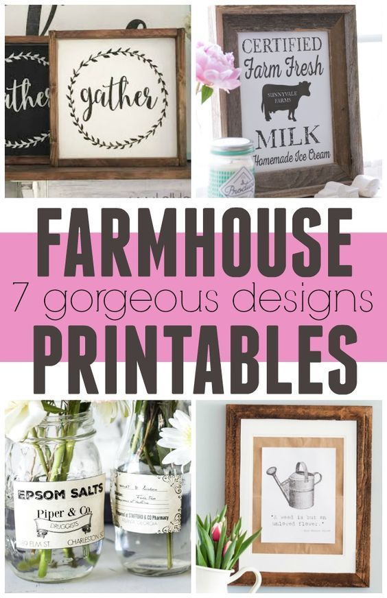 Free Farmhouse Printables! These gorgeous prints are perfect for framing and put...