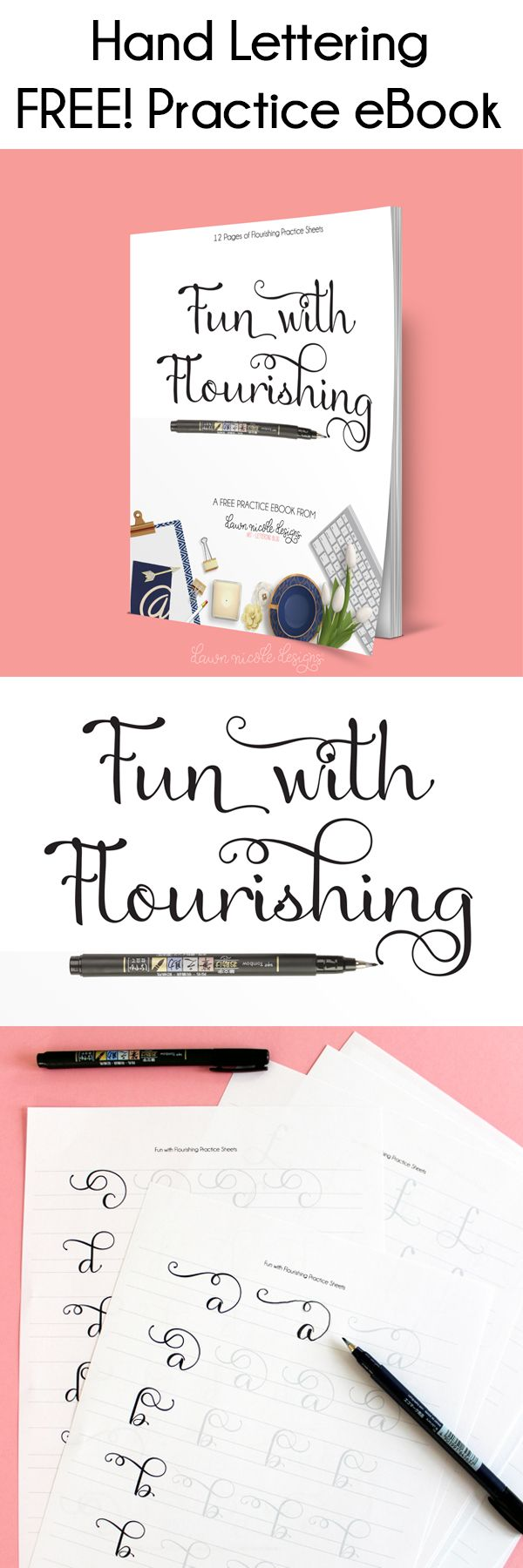 Fun with Flourishing: Free Hand Lettering Practice eBook. Work on your flourishe...