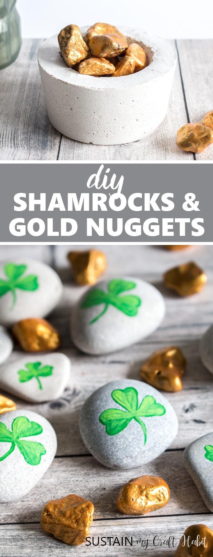 Get lucky with these simple, fun and festive shamrock and gold nugget painted ro...