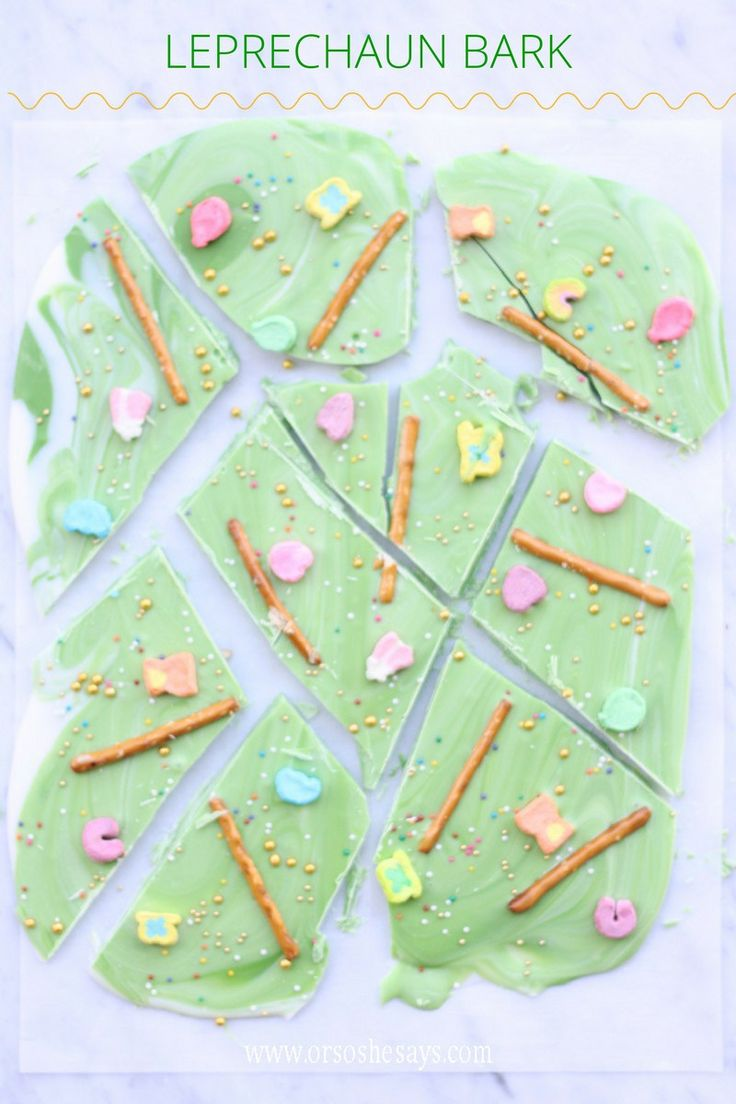 Get the kids to help make this leprechaun bark recipe to get ready for St. Patri...