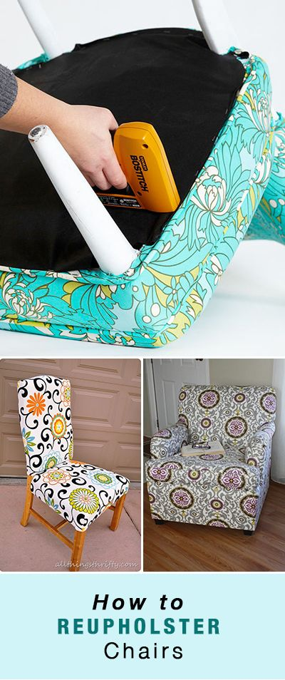 How to Reupholster Chairs • From old dining chair seats all the way up to the ...