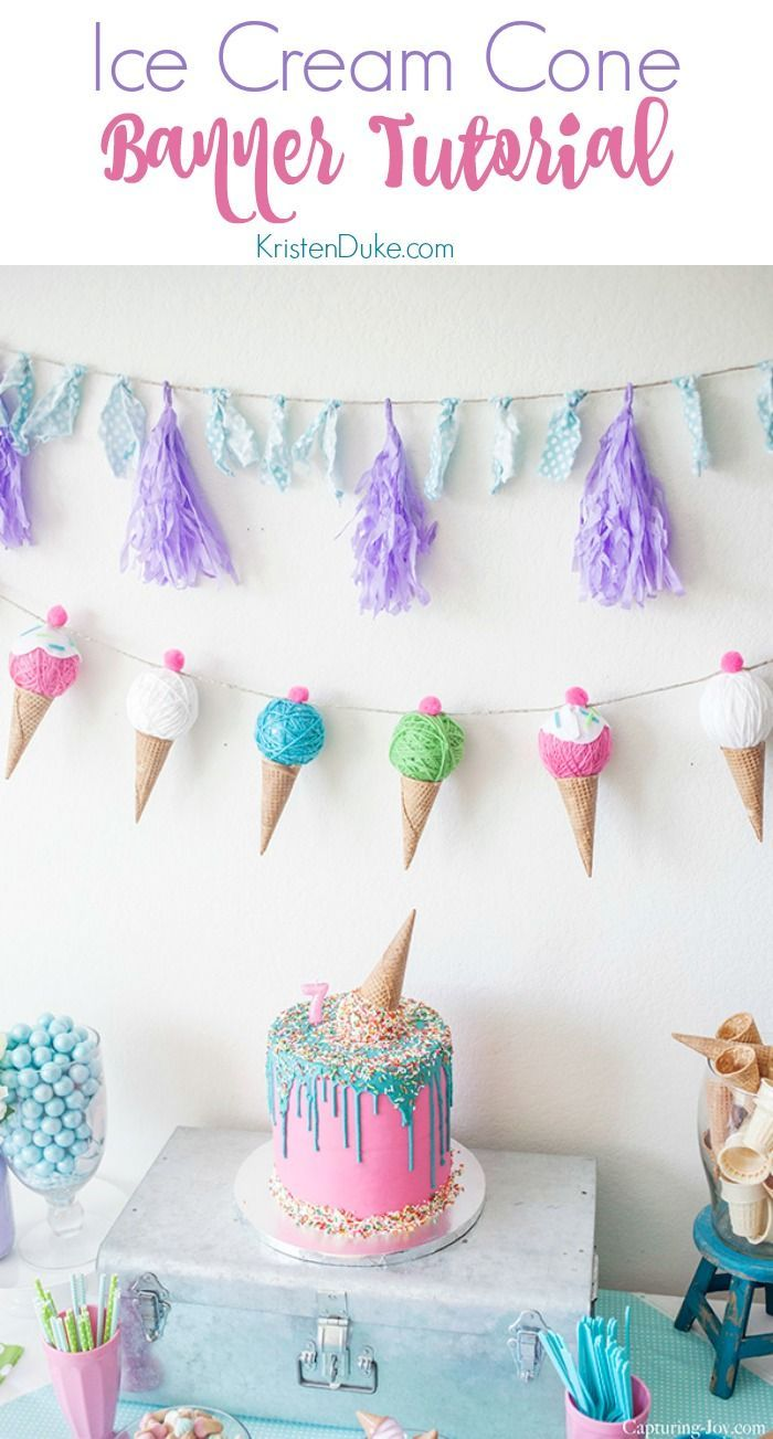 Ice Cream Cone Banner Tutorial. For an ice cream themed birthday party! www.Capt...