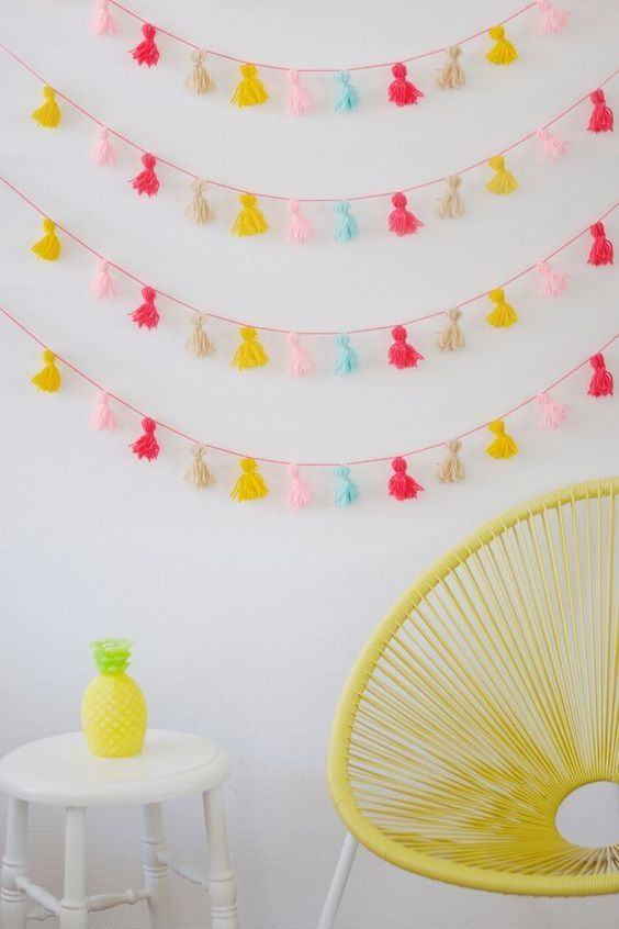 If you have a skein of yarn, the tassel bunting above is incredibly simple to pu...