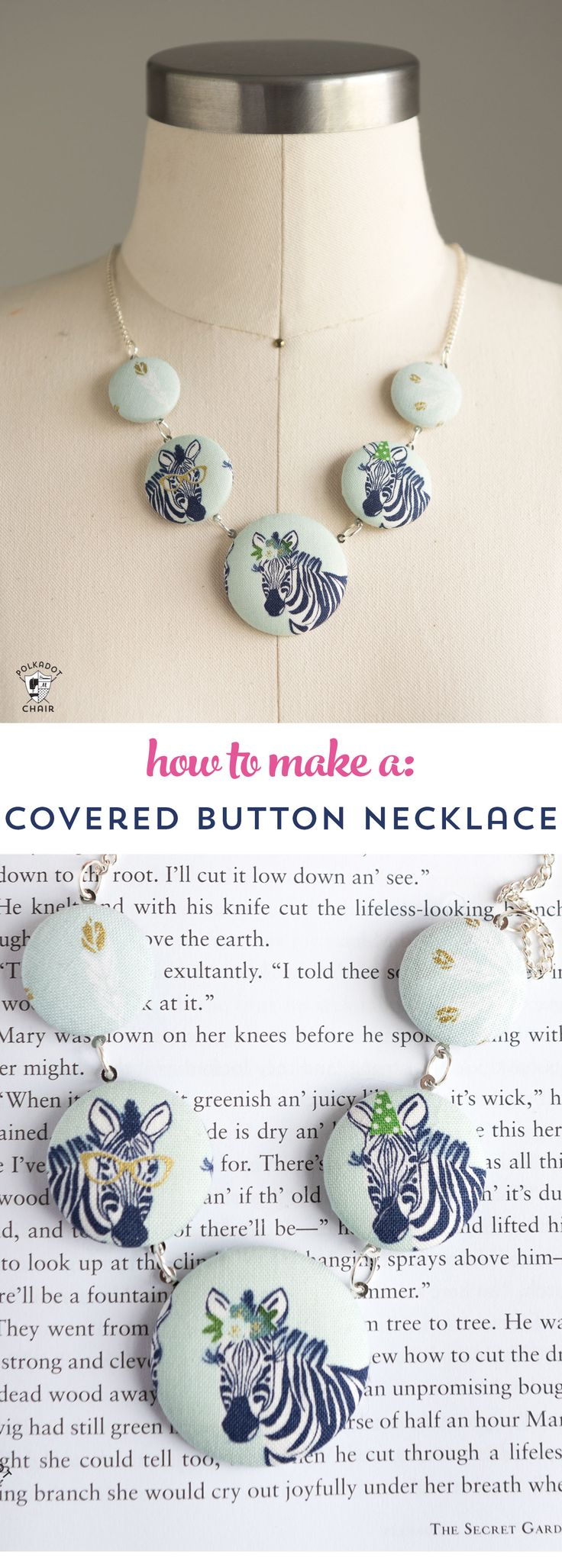 Make a cute statement necklace with this fabric covered button necklace tutorial...