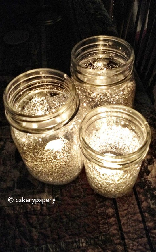 Mix Water With Elmer's Glue And Brush The Inside Of The Mason Jars. Add Glit...
