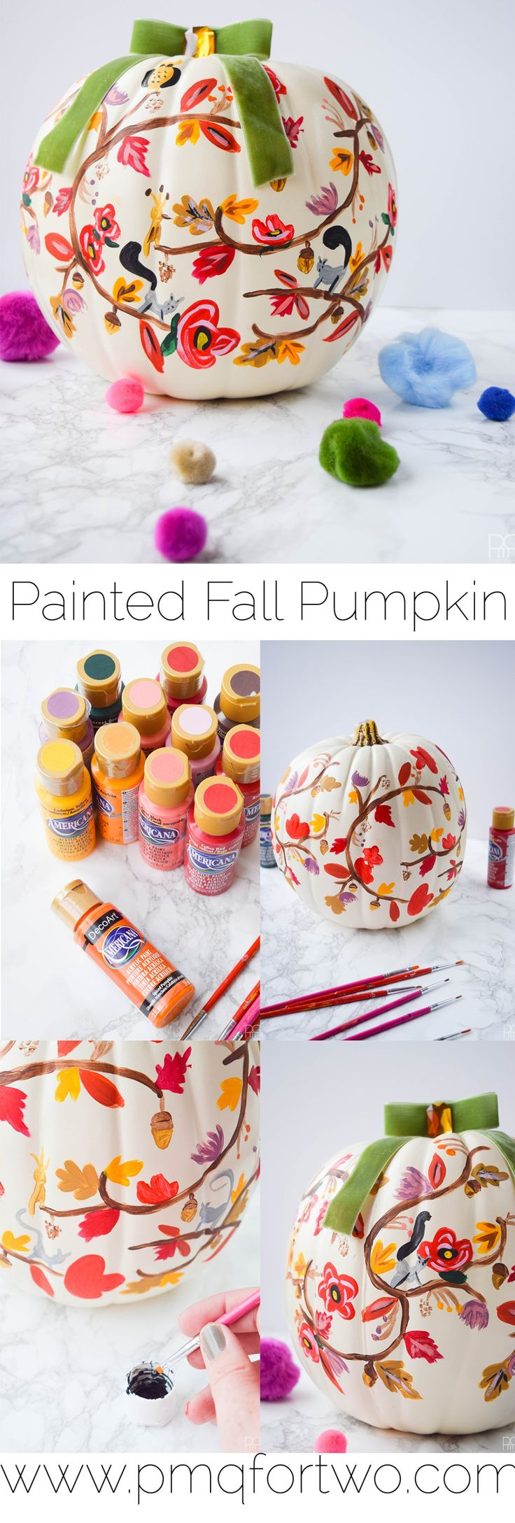 Painted Fall Pumpkin by PMQ for Two #decoartprojects