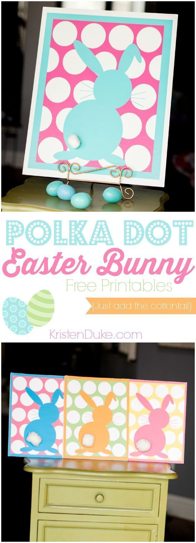 Polka Dot Easter Bunny Free Printable at KristenDuke.com