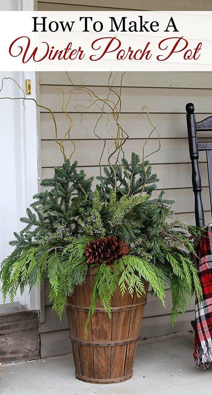 Quick and easy tutorial for making these GORGEOUS winter porch pots. Made in bas...