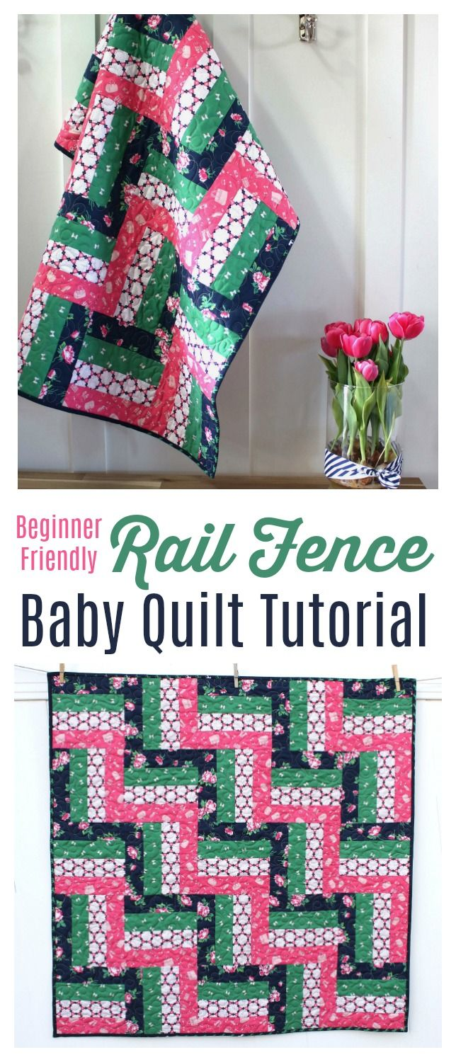 Rail Fence Baby Quilt tutorial - a fun beginner baby quilt tutorial. Features De...