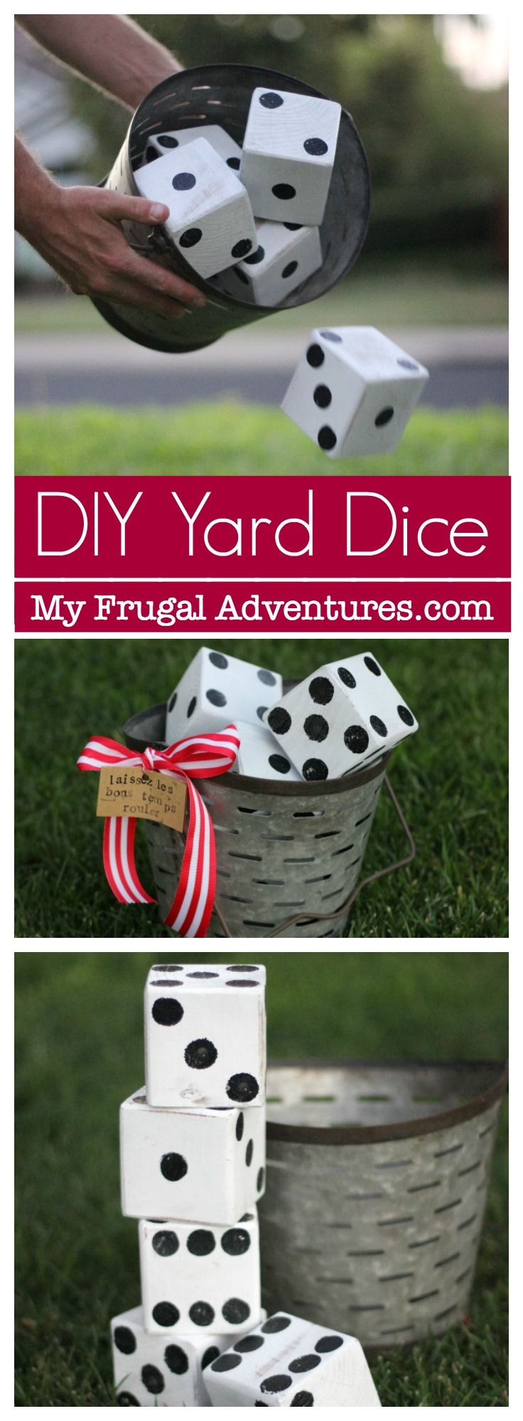 Super simple DIY lawn dice. Such a fun activity for outdoor games or entertainin...