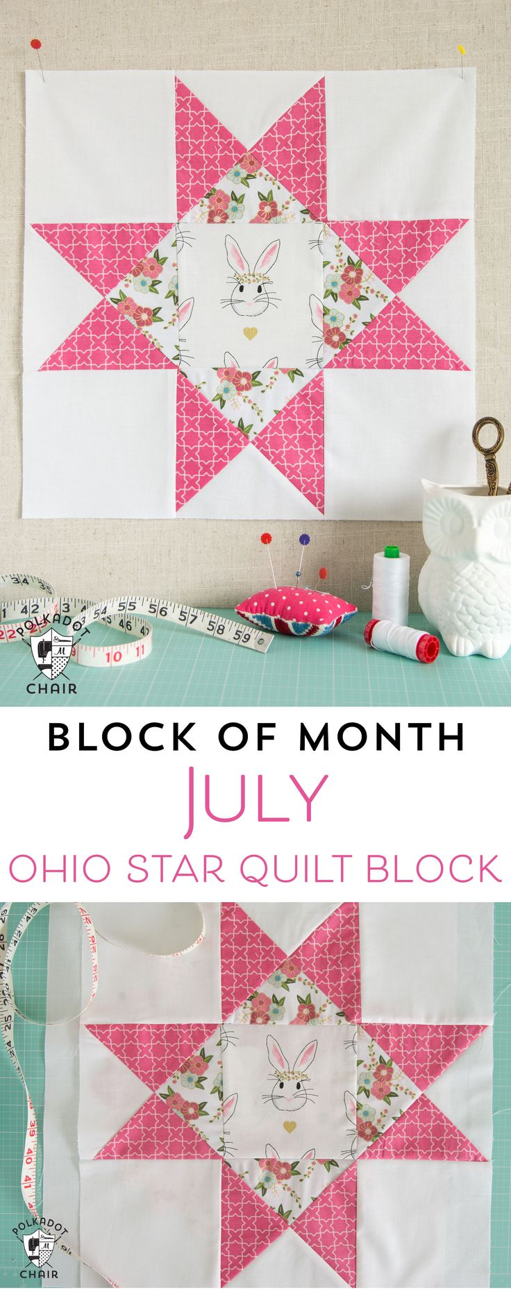 The July Quilt Block of the Month; the Ohio Star Quilt Block, includes full meas...