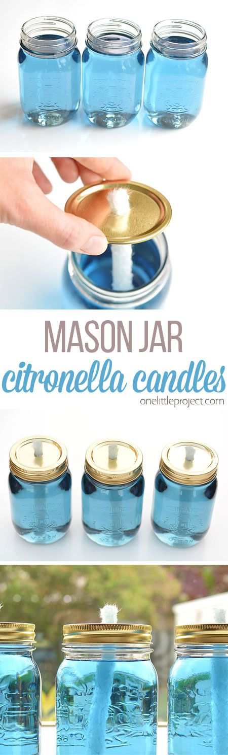 These mason jar citronella candles are REALLY EASY and they really keep the bugs...