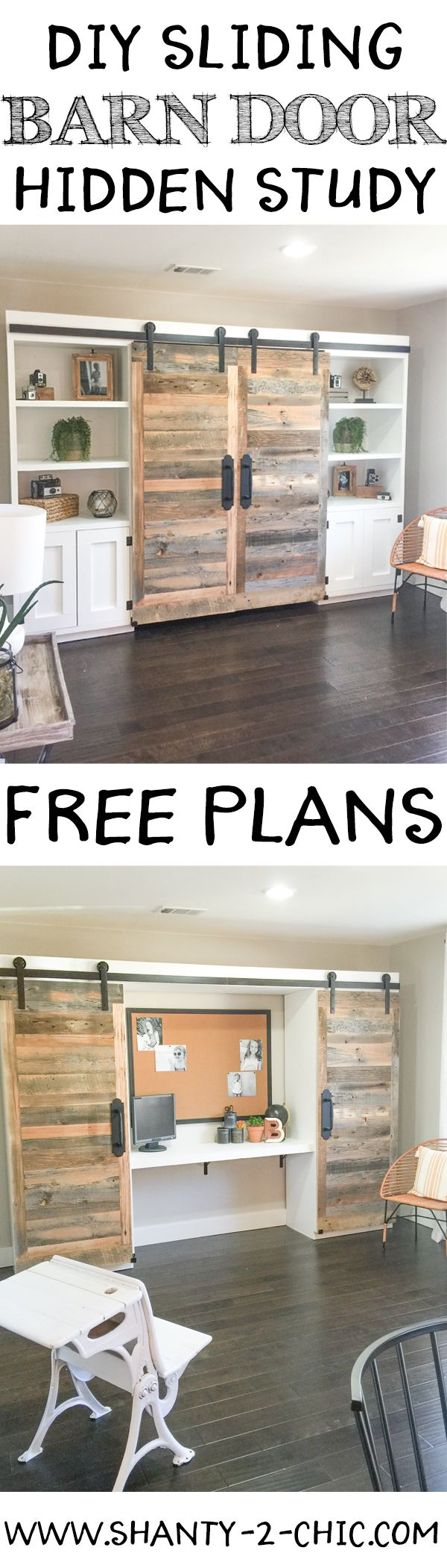 This sliding barn door hidden study is perfect for creating an office space when...