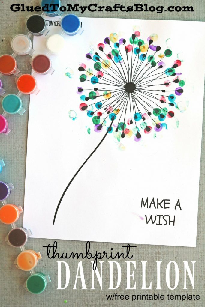 Diy Crafts Thumbprint Dandelion Kid Craft This Idea Would Be A