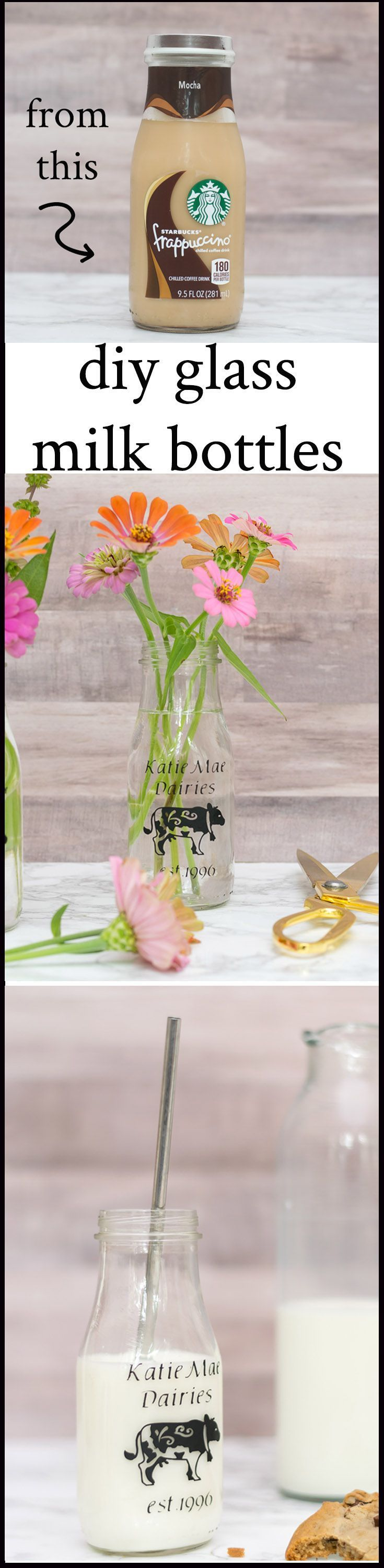 Upcycle used Starbucks Frappuccino bottles to make personalized DIY glass milk b...