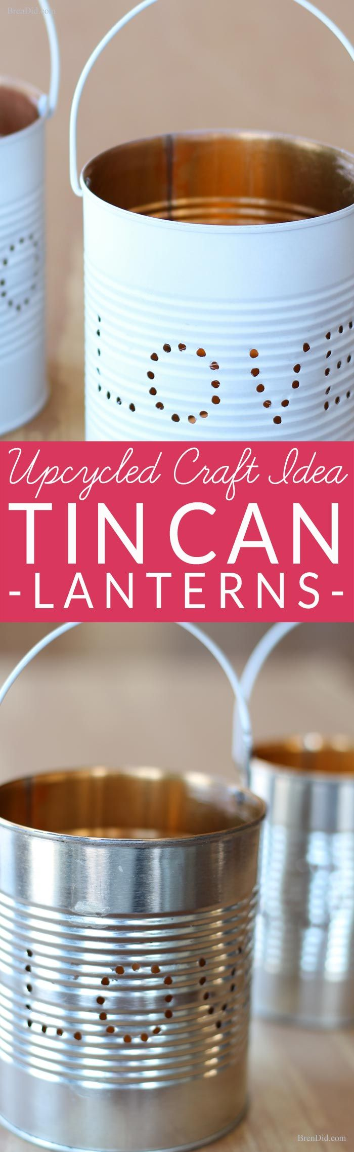 Upcycled Craft Ideas for Valentines Day. Learn how to make an adorable tin lante...