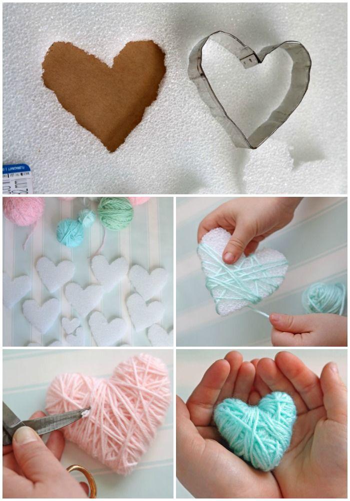 Diy Crafts Wrap Styrofoam Hearts In Yarn For A Kid Friendly