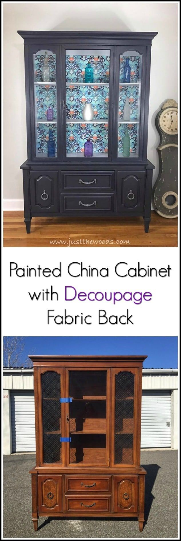 A painted china cabinet with gorgeous fabric decoupage. Deep gray with purple un...