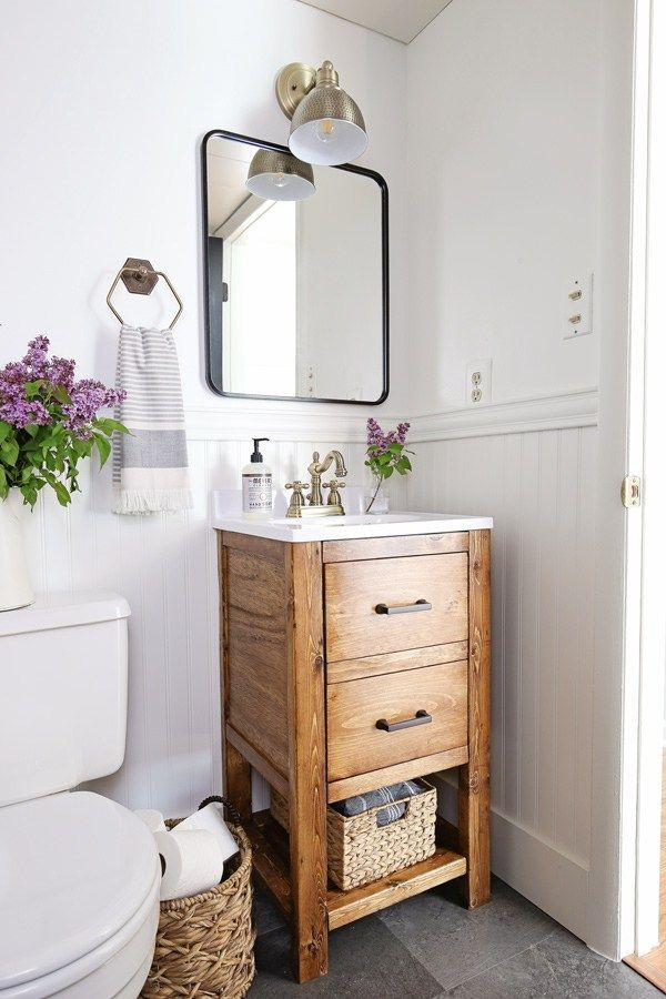 A small bathroom is made over into a classic, modern, rustic bathroom on a budge...