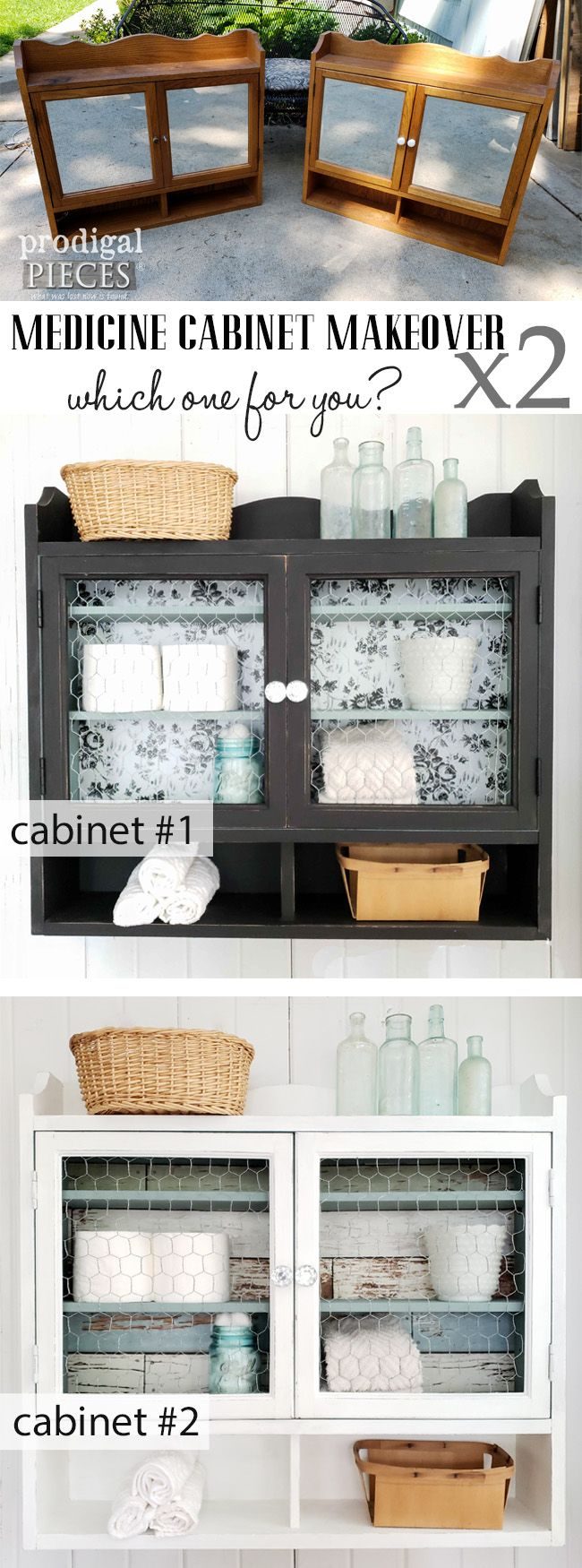 Check out this thrifted medicine cabinet makeover by Larissa of Prodigal Pieces....